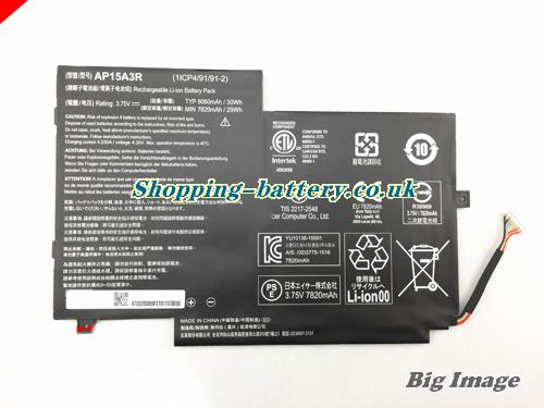 Acer 1icp4/9/91/91-2 Battery 8060mAh, 30Wh  3.75V Black Li-ion